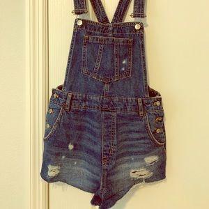 Denim shorts overalls